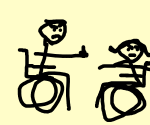 Man in wheelchair gives woman the middle fing