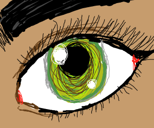 A swampy colored eye, close up.