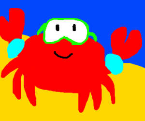 Crab with goggles