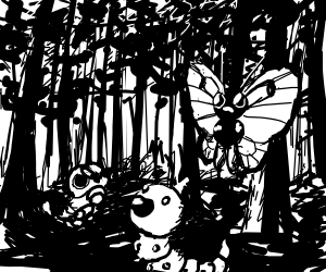 Encountering pokemon in forest