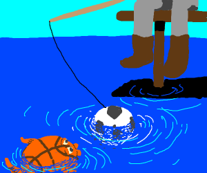 Fishing for basketball fish with soccer ball