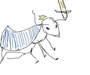 White warrior ant in blue cloak