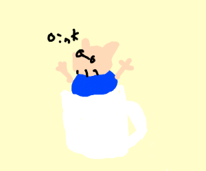 peppa pig's dad in a coffee cup