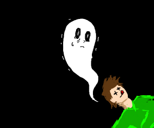 Super depressed ghost looking at his dead bdy