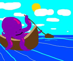 an octopus(purple) on a boat