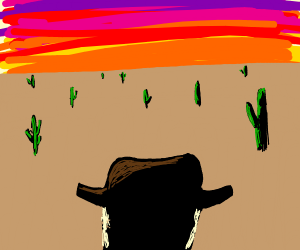 Cowboy looking into the sunset
