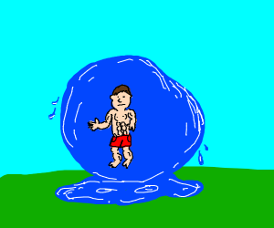 A strong guy in a blob of water