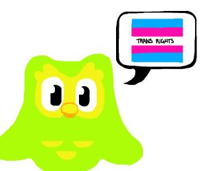 duolingo bird says TRANS RIGHTS