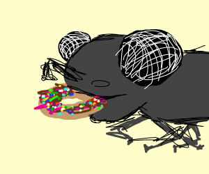 Huge fly eating a donut