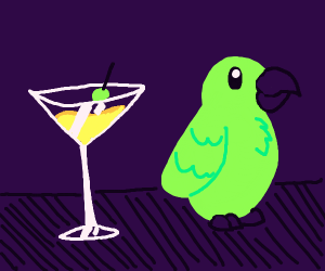 Parrot next to a cocktail drink
