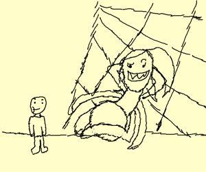 Man walks by horse-sized spider