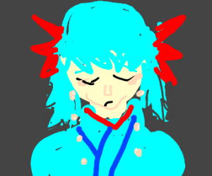 Anime girl cries
