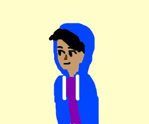 man in blue hoodie and purple tshirt