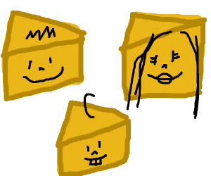 guy's cheese looks like a family.