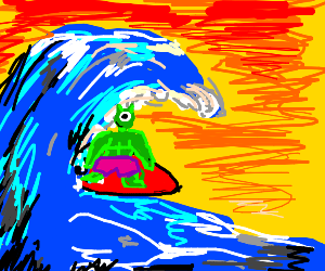 handsome shrek/mike wazowski hybrid surfer