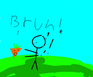 "carrot sez ""bruh"" to fat man"