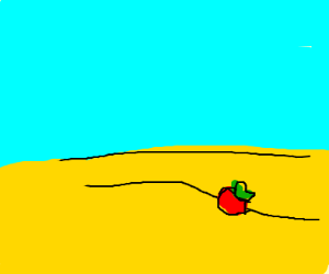 Apple in a desert