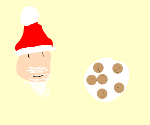 Santa and his plate of cookies