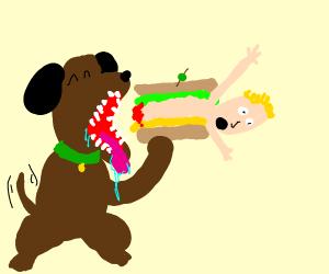 dog eats human sandwich