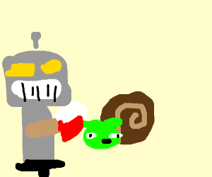 robot boy fights yoda snail with axe