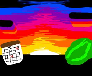 Watermelon and calendar enjoying sunset