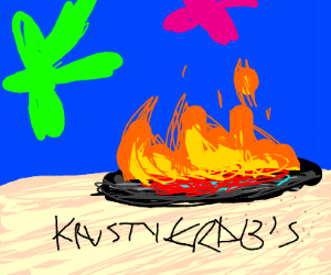 the krusty krab has burned down