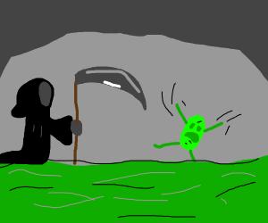 Grim reaper comes for green potato