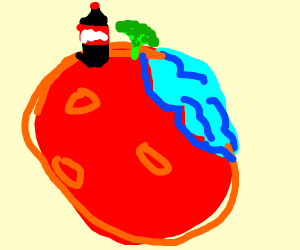 Coke is on mars with ocean with broccolii