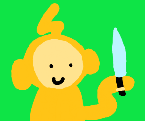 Laa-Laa has a knife