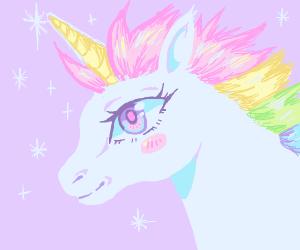 Magical unicorn with huge eye smiles