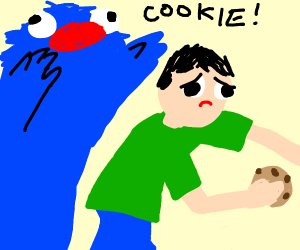Man with cookie attacked by Cookie Monster