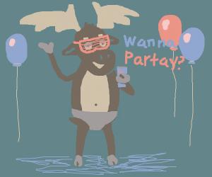 Party Moose in Underwear