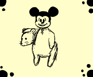 Mickey Mouse in a real mouse Costume