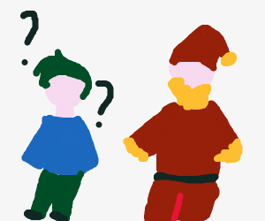 Guy doesn't see Santa