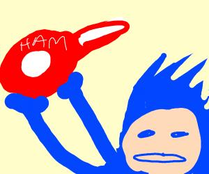 Sonic holds ham