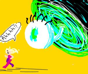 Girl runs from portal cyclops