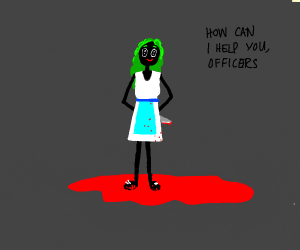 green haired lady standing in blood