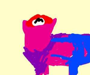 pig dressed up as mario