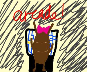 Lady beetle plays pacman arcade game