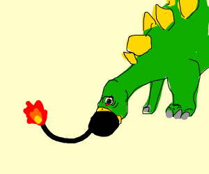 dino eating bomb