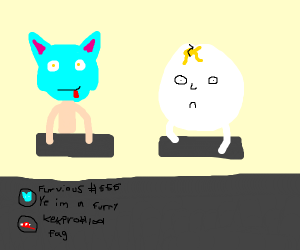 Cyan furry goes to discord with eggfriend