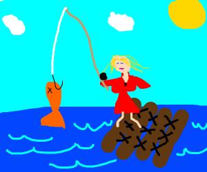 Woman fishing on a raft