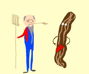 Farmer and bacon-liver