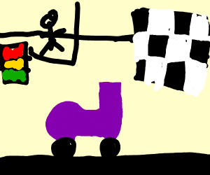 purple shoe as a race car