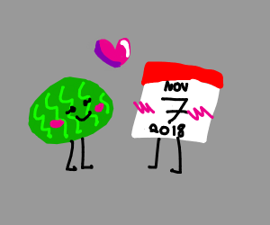 Watermelon in a relationship with calendar