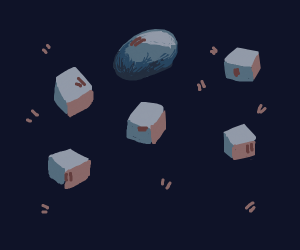 Floating bland-colored cubes. And oval.