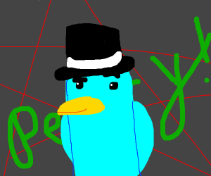 parry the platypus wearing a tophat