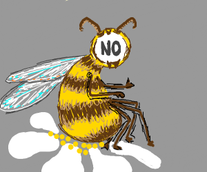 "Bee with ""no"" for a face"