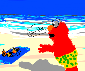 Elmo bullies an ant at the beach