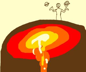 naked boy eats hamburger on top a volcano